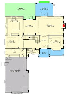 Traditional House Plan with Bonus Room Included - 23721JD floor plan - Main Level