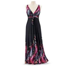 Paisley-Print Maxi Dress - Women's Clothing & Symbolic Jewelry – Sexy, Fantasy, Romantic Fashions