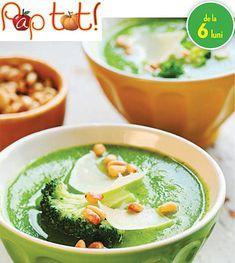Broccoli cu branzica si iaurt pentru bebelusi. Broccoli poate fi introdus foarte devreme in alimentatia bebelusului cand se trece la diversificare Palak Paneer, Hummus, Food And Drink, Broccoli, Ethnic Recipes, Greedy People, Food
