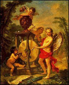 Cupido afila su flecha - Pintura de  Charles-Joseph Natoire - 1750