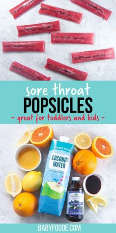 Sore Throat Popsicles - are the perfect frozen treat to give your toddler or kid when they are under the weather or have a sore throat! Made with 5 immune boosting ingredients, these popsicles are loaded with vitamin C, antioxidants, antibacterial and antifungal properties. #toddler #kid #sorethroat #popsicles Sick Toddler, Sick Kids, I'm Sick, Toddler Meals, Kids Meals, Toddler Food, Toddler Recipes, Toddler Stuff, Babies Stuff