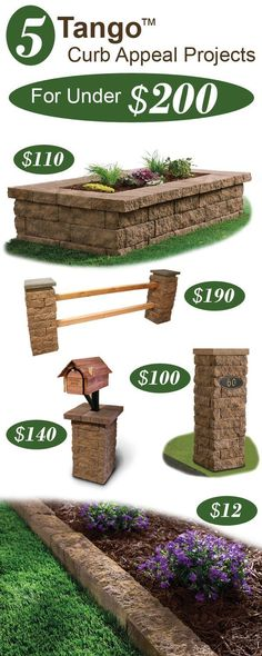 Want to add curb appeal on a budget? Here are 5 landscape project ideas under $200. #LandscapingOnABudget #landscapingprojects