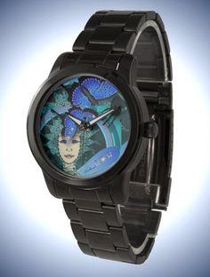Unisex Oversized Black Bracelet Watch with Art Déco style Fairy & Butterfly Face