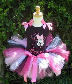 Girls Birthday Minnie Mouse Black and White Polkadot  Number Tutu
