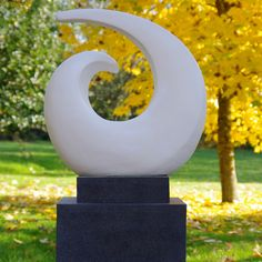 Revolve Contemporary Garden Sculpture on Pedestal. Buy now at http://www.statuesandsculptures.co.uk/revolve-contemporary-garden-sculpture-on-pedestal