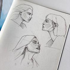 Portrait Sketches, Art Drawings Sketches Simple, Cool Drawings, Fast Drawing, Sketches Tutorial, Art Sketchbook, Drawing People, Pattern Art, Art Inspo