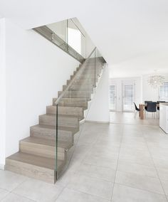 Folding staircase Wooden staircase Glass country m Stairs Window, Glass Stairs, Glass Railing, House Stairs, Home Stairs Design, Railing Design, House Design, Small Room Interior, Interior Stairs
