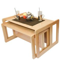 3 in 1 Adult's Multifunctional Nest of Two Coffee Tables, or Children's Multifunctional Furniture Set One Multifunctional Table and One Multifunctional Bench Solid Beech Wood Light Varnish by Obique, http://www.amazon.co.uk/dp/B00IHYJ7E6/ref=cm_sw_r_pi_dp_bWUitb1Y9WRX6