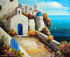 Painting: Greek Isle Churches Homes Mediterranean Sea Stretched Oil On Canvas Painting