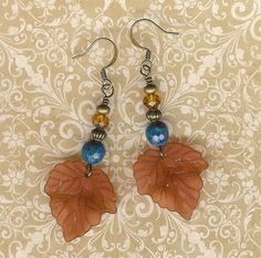 Brown Lucite Leaf Earrings Lapis Lazuli Autumn by myjuliejewels