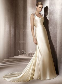 Wedding Dresses - $154.79 - Sheath/Column Cowl Neck Court Train Charmeuse Wedding Dress With Lace (00205001910)
