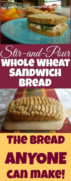 Easy Stir and Pour Whole Wheat Sandwich Bread