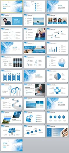Business infographic : 31 Best Blue business Report PowerPoint templates on Behance