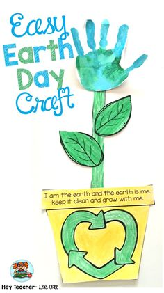 For an easy, fun, Earth Day handprint flower craft for kids, click the picture. Kids can make a difference! #earthday #earthdaycraft #earthdayactivity