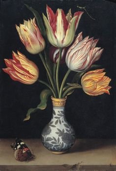 "Ambrosius Bosschaert, the Elder ""Tulips in a Wan-Li Vase"", 1619 (The Netherlands, Baroque / Dutch Golden Age, cent. Art Floral, Motif Floral, Dutch Still Life, Still Life Art, Still Life Flowers, Dutch Golden Age, Merian, Dutch Painters, Botanical Prints"