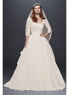 Oleg Cassini Organza 3/4 Sleeved Wedding Dress CWG731