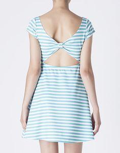 Vestido rayas escote espalda | SHOP ONLINE SUITEBLANCO.COM