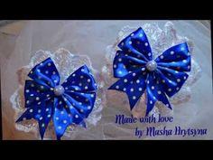 Бантики из лент с цветком канзаши/Ribbon bows with flower kanzashi - YouTube