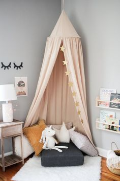 How to Hang a Canopy from the Ceiling Without Drilling Holes & 65 Best kids canopy images | Toddler play tent Baby doll house Kid ...