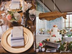 A detailed photograph of a nautical and garden inspired wedding details at a charming Nantucket wedding in the Westmoor Club Gina Brocker Photography