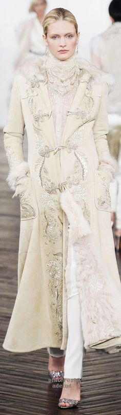 Ralph Lauren ~ Embroidered Full Length Ivory Coat - I hope that's fake fur Ralph Lauren Style, Polo Ralph Lauren, High Fashion, Winter Fashion, Womens Fashion, Women's Dresses, Beautiful Outfits, Cool Outfits, Look Chic