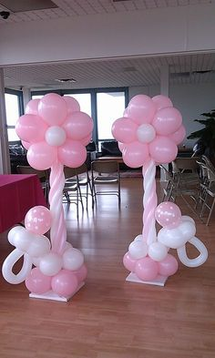 Soft Pink flowers baloons rosielloonsFiesta niña flor rosa globos