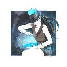 Alerte EXCLUSIVITE The Artists Alley 🤩 Découvrez la magicienne Zatanna par Sandrine Pierrot, une aquarelle originale et unique sur papier d'art (dimension : 25x25cm). Vous laisserez-vous envouter ??? (à découvrir exclusivement sur TAA) Pierrot, Artist Alley, Zatanna, Workshop, Fan Art, Cartoon, The Originals, Burlesque, Illustration