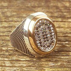 Sultan Suleiman Oval Shape Zircon Silver Man Ring Ottoman Jewelry 925 Sterling #Unbranded