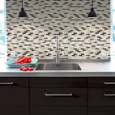 """peel and stick """"glass"""" tiles, no grouting, cuts with snips, no tile cutting needed, water and mold resistant (saw this on diy network last night)"""