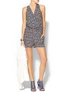 EARLY FALL WITH LEATHER JACKET OR BLAZER...........Adelyn Rae Easy Printed Short Romper