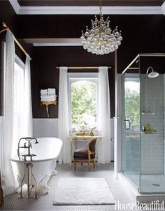 Love this glamorous bathroom! Especiaaly the bath and dark walls House Design, House, Victorian Homes, Best Bathroom Designs, House Interior, Glamorous Bathroom, Bathroom Design, Bathroom Decor, Beautiful Bathrooms