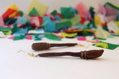 polymer clay Harry Potter Broomstick by SophieLoxleyDesign on Etsy Clay Earrings, Clay Jewelry, Harry Potter Broomstick, Polymer Clay, Unique Jewelry, Handmade Gifts, How To Make, Etsy, Design