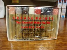 Zauders The Carnval Base Grease Paints  Makeup Set are very close to the type of greasepaint sticks in use 1870-1950 on stage, yet still made now, and rather cheap.  They are great for reenactor theatrical makeup.