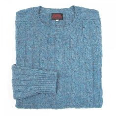 f0ac8ac03e81 O'Connell's Scottish Shetland Wool Sweater - Cable Knit - Vista Blue  Sweaters, Wool