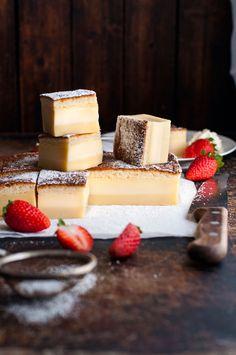 "Magic 3 Layer Custard Cake by ""RecipeTin Eats"" Magic Cake Recipes, Sweet Recipes, Dessert Recipes, Magic Recipe, Food Cakes, Cupcake Cakes, Cupcakes, Magic Custard Cake, Recipetin Eats"