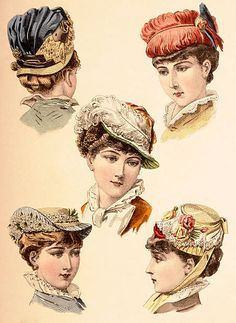 A French vintage fashion illustration featuring five young ladies wearing stylish hats, published in Paris, circa May (Photo by Popperfoto/Getty Images) Victorian Gown, Victorian Hats, Victorian Costume, Victorian Fashion, Vintage Fashion, 1880s Fashion, Fancy Hats, Cool Hats, Jean Délavé
