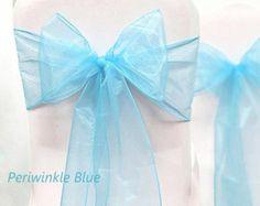 Organza Chair jupettes 50 bleu 8 X 108 mariage anniversaires entreprise événements Pew arcs navires plat