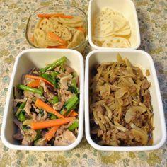 常備菜 *酢蓮根 *蓮根キンピラ *牛丼の具 *ツルムラサキと豚肉の炒め物
