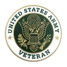 "U.S. Army Veteran Pin. $4.29. 1"" round, gold plated with epoxy finish."