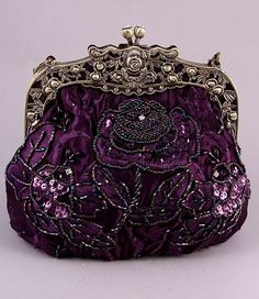 Purple Beaded Victorian Purse