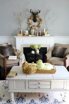 Ideas For Creating Stylish Fall Mantels - Lighting & Interior Design Ideas Blog - LampsPlus.com @evintage