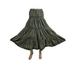 "Amazon.com: Long Skirt for Women Retro Vintage Bohemian Style Olive Green Lace Work Bohemian Maxi Skirt 35"": Clothing$29.95"