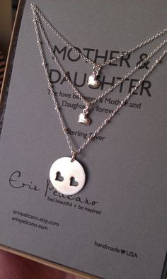 Mother Two Daughters Necklace Set // Inspirational Jewelry // Simple Delicate I just love this.