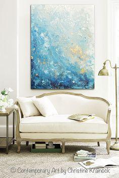 GICLEE PRINT Large Art Abstract Painting Blue White Wall Art Home Decor Canvas Prints Coastal Wall Decor Marbeled Seascape Beach - Christine