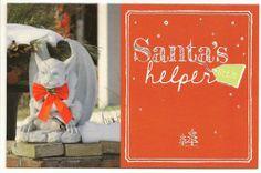 Gargoyle in Red Bow Tie Christmas Card  Santas by TheOldBarnDoor, $5.00
