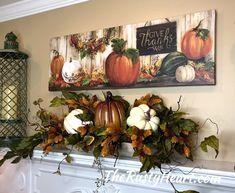 Fall Mantel decor - New Ideas Fall Mantel Decorations, Mantel Ideas, Thanksgiving Decorations, Fall Lanterns, Autumn Decorating, Decorating Tips, Fall Arrangements, Autumn Painting, Fall Home Decor