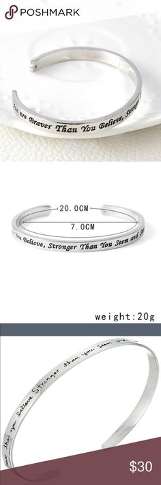 """You are braver than you believe... bracelet new Slender sterling silver cuff bracelet with engraved message """"You are braver than you believe Stronger than you seem and Smarter than you think"""" Product Dimensions: 3.7 x 2.8 x 1.9 inches Quantity 1 piece Jewelry Bracelets"""