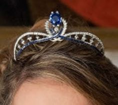 Sapphire and Diamond tiara on Duchess of Vendôme (Princess Philomena) that once belonged to her Mother-in-law, Countess of Paris.