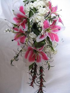 SALE - Pink Stargazer Lily Bridal Bouquet and Grooms Boutonniere WAS 120. $75.00, via Etsy.