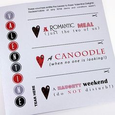 Handmade Valentines Card Love Tokens Coupons Vouchers - A Romantic Meal / A Canoodle / A Naughty Weekend